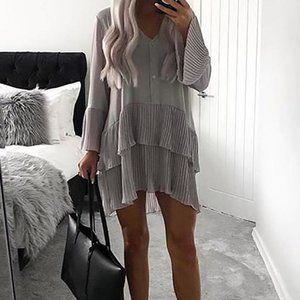 CBR grey pleated long sleeve dress
